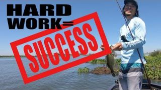 California Delta Hard Work Bass Fishing Searching for Success VIDEO