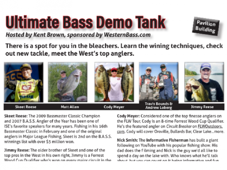 "Demo Tank Schedule for ISE Sacramento | 3 Days and Counting! - ""More information about the ISE Sacramento 2017 - International Sportsmen's Exposition in this Program Guide"