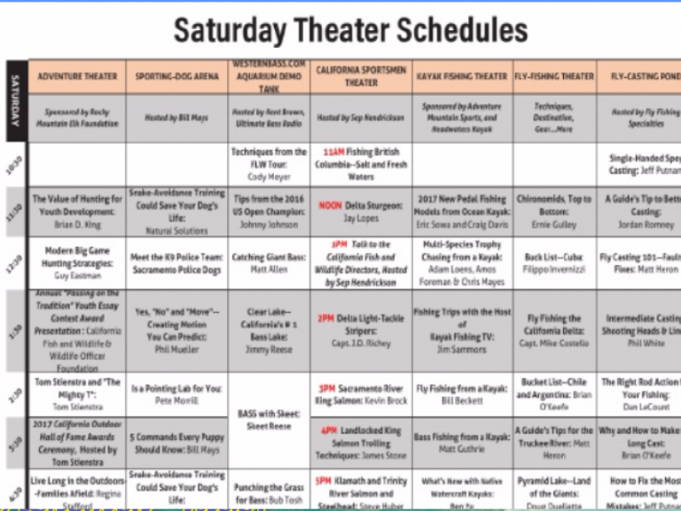 Saturday Schedule at 2017 ISE Sacramento | Click here for the Daily SChedule of Events - Saturday's Theater and Seminar Schedule at ISE | International Sportsmen's Expo Program Guide Available Here