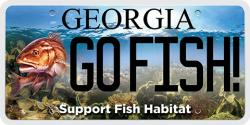 Go fish state license plate to support marine habitat for Fishing license georgia